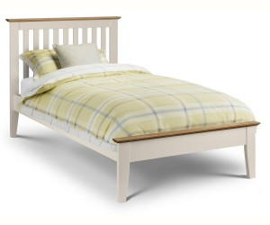 Salerno Oak and Stone White Two Tone Bed Frane