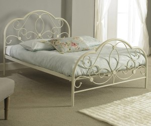 Alexis Ivory Metal Bed Frame