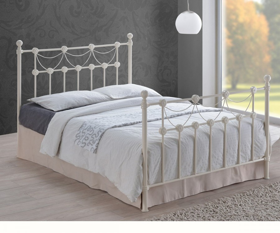 Omero Ivory Metal Bed Frame