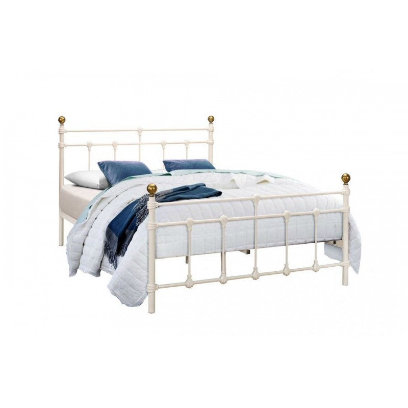Traditional Cream Metal Bed Frame