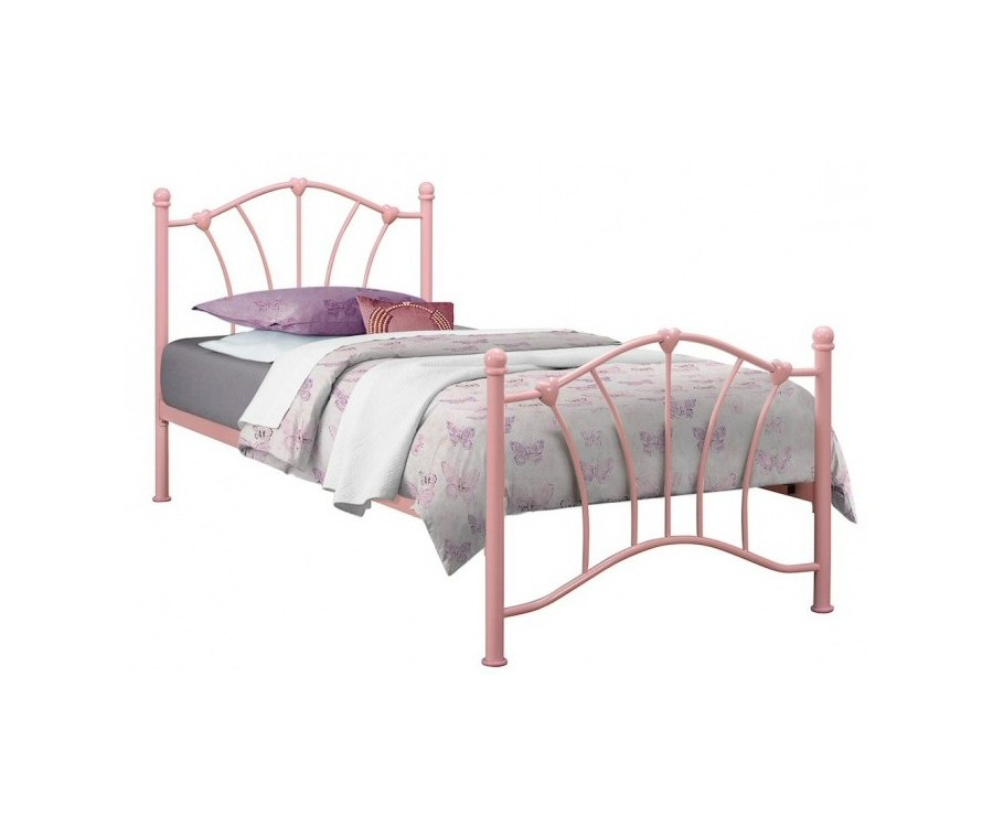 Single Pink Hearts Bed Frame