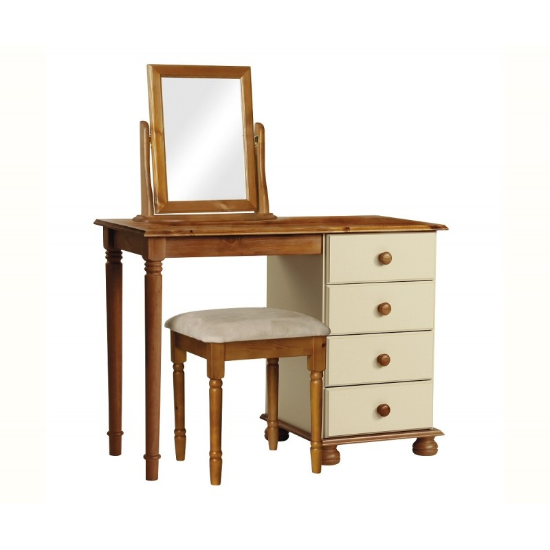 Surrey Cream Pine Dressing Table Shown With Mirror And Stool