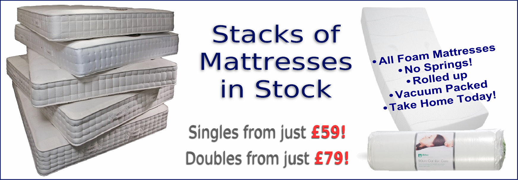 Stacks of Mattresses available from Sacrborough Bed Warehouse